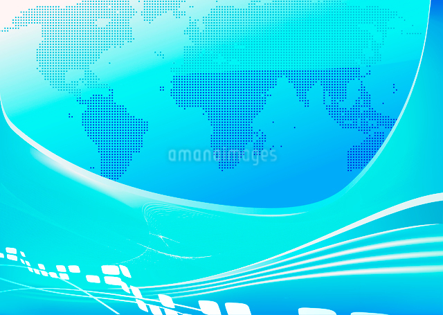 Vector illustration of stylised blue world map backgroundのイラスト素材 [FYI03071889]