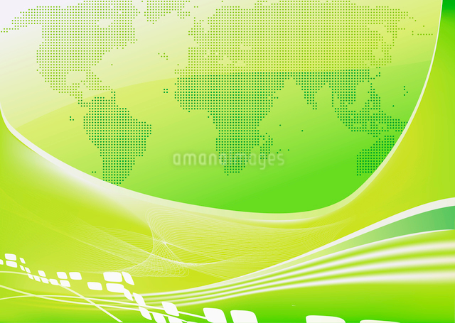 Vector illustration of stylised green world map backgroundのイラスト素材 [FYI03071895]