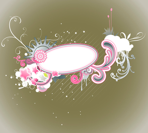 Vector illustration of retro styled design frame made of floral elements and funky starsのイラスト素材 [FYI03071896]