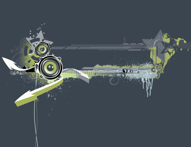 Vector illustration of urban music grunge frame with stars and speakersのイラスト素材 [FYI03071908]