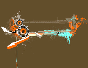 Vector illustration of urban music grunge frame with stars and speakersのイラスト素材 [FYI03071910]