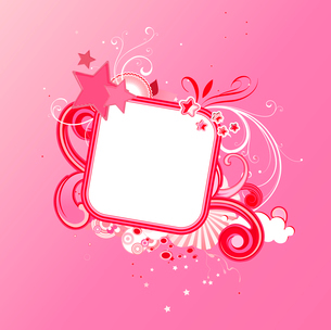 Vector illustration of pink funky styled design frame made of floral elements and starsのイラスト素材 [FYI03071914]