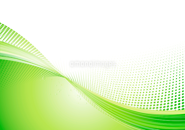 Vector Illustration of green abstract techno background made of dots and curved lines. Great for bacのイラスト素材 [FYI03071923]