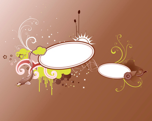 Vector illustration of funky styled design frame made of floral elementsのイラスト素材 [FYI03071928]