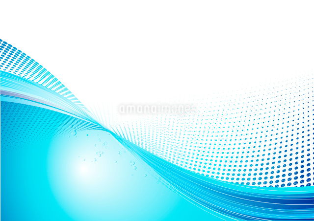 Vector Illustration of Blue abstract techno background made of dots and curved lines. Great for backのイラスト素材 [FYI03071929]