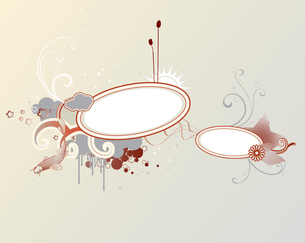 Vector illustration of funky styled design frame made of floral elementsのイラスト素材 [FYI03071930]