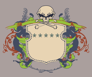 Vector illustration of heraldic shield or badge with stylized human skull and snakes, blank so you cのイラスト素材 [FYI03071931]