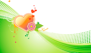 Vector illustration of funky styled design background with heart shape and floral elementsのイラスト素材 [FYI03071935]