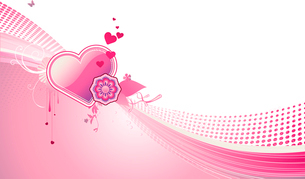 Vector illustration of funky styled design background with heart shape and floral elementsのイラスト素材 [FYI03071937]