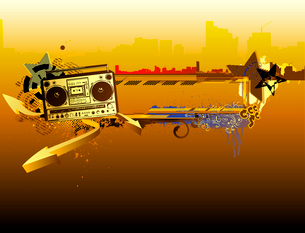 Vector illustration of urban music grunge frame with stars and boomboxのイラスト素材 [FYI03071938]