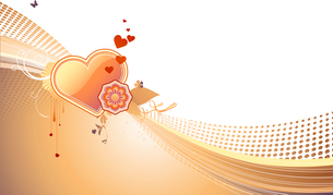 Vector illustration of funky styled design background with heart shape and floral elementsのイラスト素材 [FYI03071940]