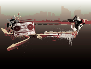 Vector illustration of urban music grunge frame with stars and boomboxのイラスト素材 [FYI03071941]