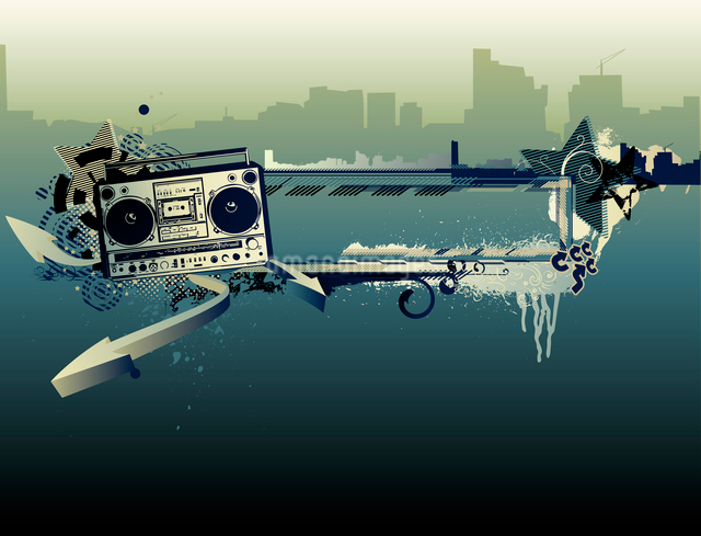 Vector illustration of urban music grunge frame with stars and boomboxのイラスト素材 [FYI03071942]