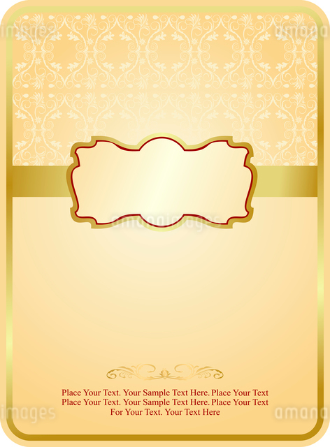 Wedding card with gold emblem. Vectorのイラスト素材 [FYI03072132]