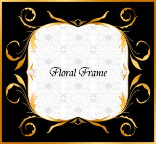 Illustration of golden floral frame. Vectorのイラスト素材 [FYI03072182]