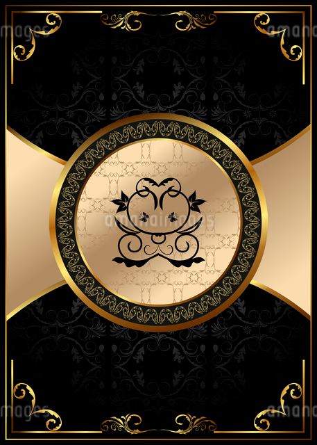 Illustration ornate background with golden luxury framed label - vectorのイラスト素材 [FYI03072240]