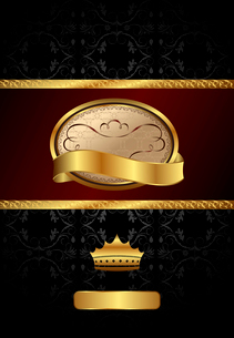 Illustration background with golden luxury label and crown - vectorのイラスト素材 [FYI03072241]