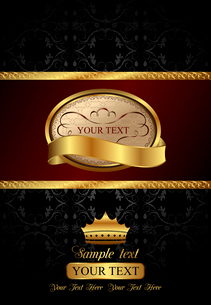 Illustration background with golden luxury label and crown - vectorのイラスト素材 [FYI03072242]