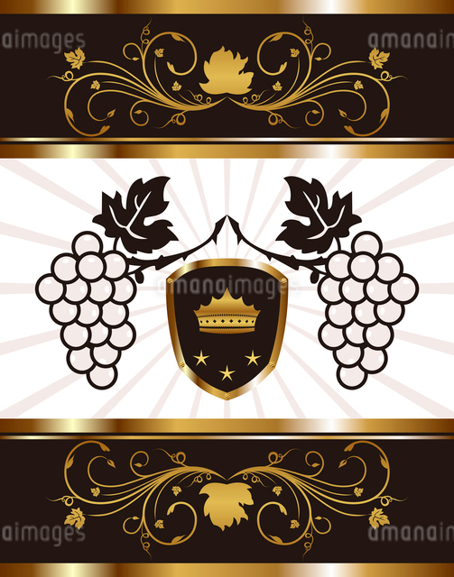 Illustration golden background with grapevine - vectorのイラスト素材 [FYI03072245]