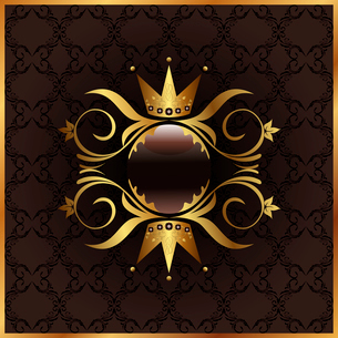 Illustration golden floral frame with crown - vectorのイラスト素材 [FYI03072250]