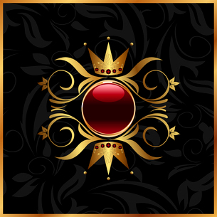 Illustration golden floral frame with crown - vectorのイラスト素材 [FYI03072254]