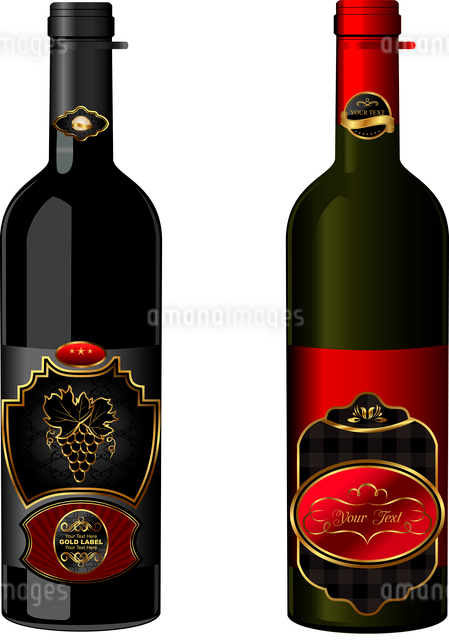 Illustration of wine bottles with attached vintage labels isolated on white background - vectorのイラスト素材 [FYI03072259]
