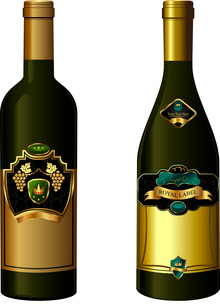 Illustration of set wine bottle with label isolated on white background - vectorのイラスト素材 [FYI03072261]