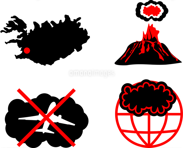 Cloud of volcanic ash. Vector silhouette iconsのイラスト素材 [FYI03072305]