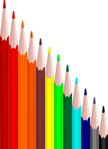 Vector illustration of colors set pencils are isolated on white backgroundのイラスト素材 [FYI03072329]