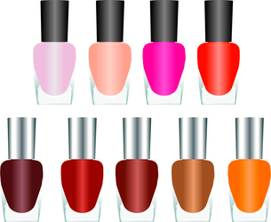 Bottles of nail polish in various bright colors on a white background. Vectorのイラスト素材 [FYI03072333]