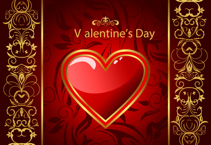 Illustration creative Valentine greeting card with heart - vectorのイラスト素材 [FYI03072334]
