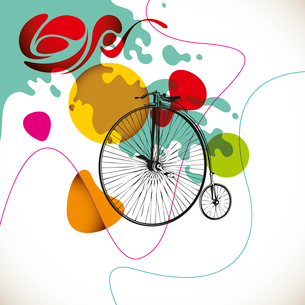 Colorful vintage layout with old bicycleのイラスト素材 [FYI03072393]