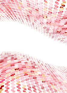 Vector illustration of organic wave surface made of red and pink squaresのイラスト素材 [FYI03072418]