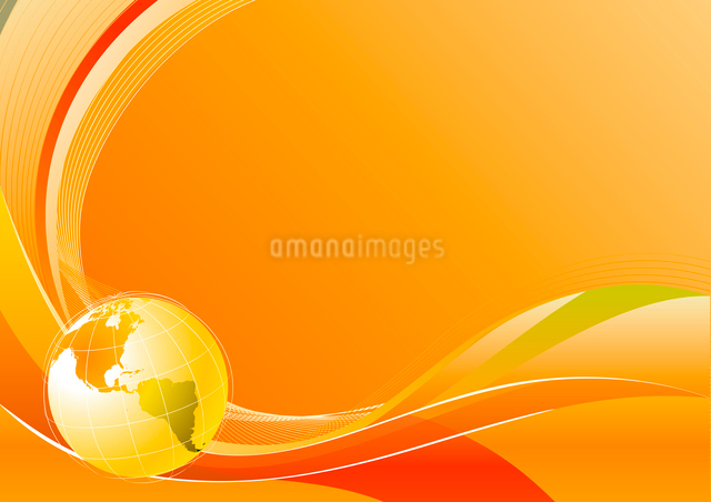 Vector illustration of orange abstract lines background - composition of curved lines and globeのイラスト素材 [FYI03072421]