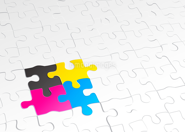 Vector illustration of abstract background made of jigsaw puzzle templates with 4 pieces in differenのイラスト素材 [FYI03072433]