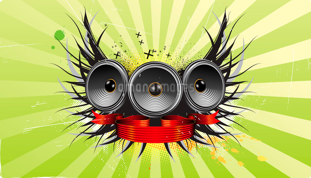 Vector illustration of shiny abstract party design with speakers,  ribbon and floral elementsのイラスト素材 [FYI03072465]