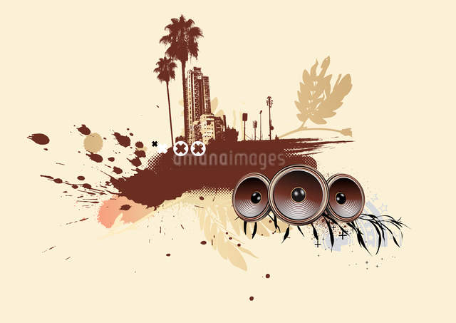Vector illustration of styled musical urban backgroundのイラスト素材 [FYI03072469]