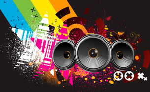Vector illustration of grunge Background with an Explosion of Colors with music design elementsのイラスト素材 [FYI03072474]