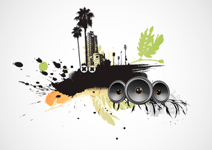 Vector illustration of styled musical urban backgroundのイラスト素材 [FYI03072476]