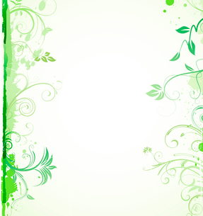 Vector illustration of green styled Floral Decorative backgroundのイラスト素材 [FYI03072480]
