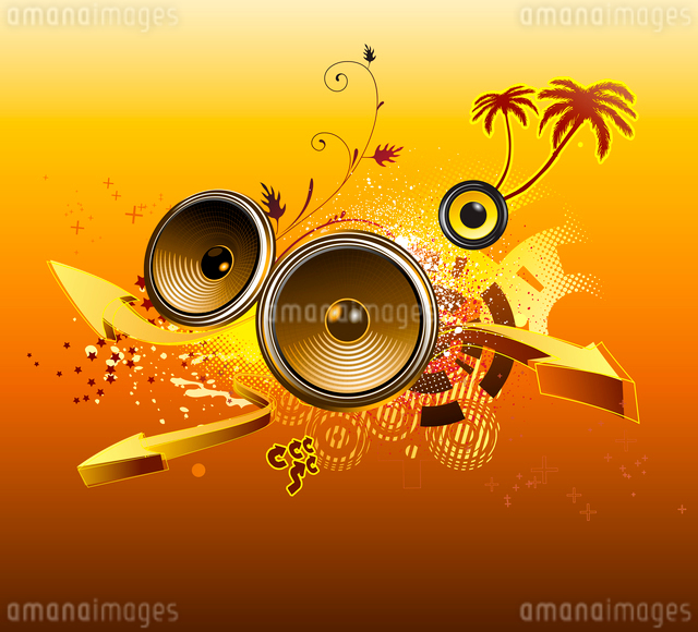 Vector illustration of grunge Background with music design elements ,palmtrees and arrowsのイラスト素材 [FYI03072481]
