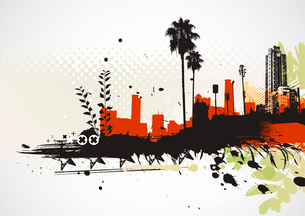 Vector illustration of styled Tropical grunge urban backgroundのイラスト素材 [FYI03072488]