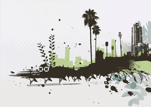 Vector illustration of styled Tropical grunge urban backgroundのイラスト素材 [FYI03072489]