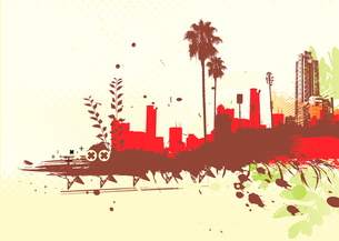 Vector illustration of styled Tropical grunge urban backgroundのイラスト素材 [FYI03072492]