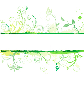 Vector illustration of green styled Floral Decorative bannerのイラスト素材 [FYI03072493]