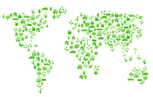 Vector illustration of world map shape made with many environmental iconsのイラスト素材 [FYI03072494]