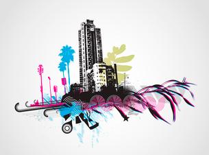 Vector illustration of styled grunge urban backgroundのイラスト素材 [FYI03072496]