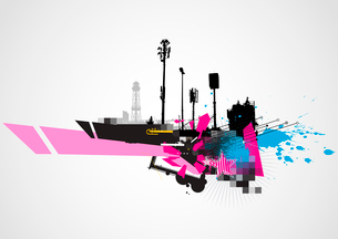 Vector illustration of styled Decorative urban backgroundのイラスト素材 [FYI03072524]