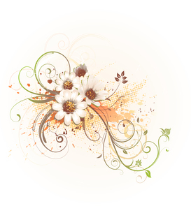 Vector illustration of grunge Floral Decorative backgroundのイラスト素材 [FYI03072543]