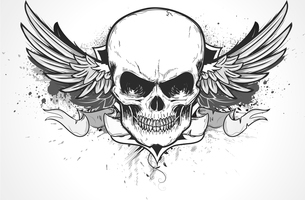 Vector illustration of double winged human skull with banner and grunge backgroundのイラスト素材 [FYI03072546]